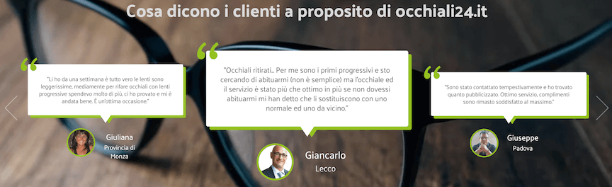 La social proof è affidata a uno slider di clienti soddisfatti